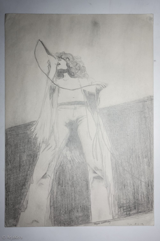 Roger Daltrey ikonisissa hapsuissaan, lyijykynäpiirros 42x30 cm, 1973.