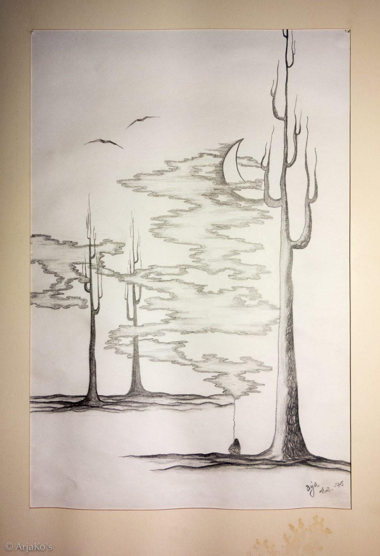 """""""Allun puut"""", lyijykynäpiirros 42x30 cm, 1975."""